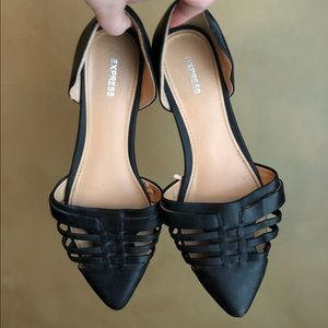 Express black woven pointed flats